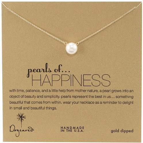 "Dogeared Jewels and Gifts ""Pearls of . . . Happiness"" Gold-Plated Silver Large Pearl Necklace, 18"""