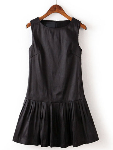 Black Round Neck Sleeveless Pleated Dress - STDRESSES
