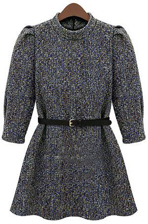 Grey Stand Collar Half Sleeve Ruffle Tweed Dress - STDRESSES