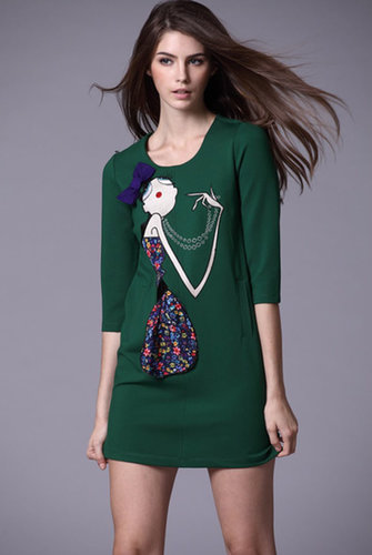 Green Half Sleeve Girl Embroidered Bow Dress - STDRESSES
