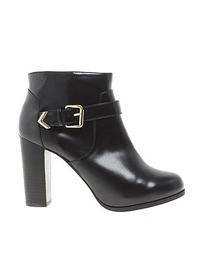 Image 1 of Pull&Bear Buckle Block Heel Ankle Boots