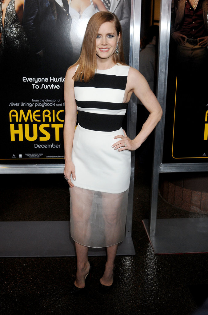 David Koma's pencil dress had an element of allure thanks to an unexpected sheer panel. Amy Adams upped the ante on her American Hustle premiere look with sultry Christian Louboutin stilettos.