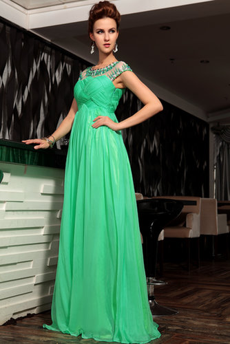 Prom Dresses A Line Scoop Fast Delivery Sequins Chiffon Floor Length