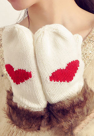 Image of [grzxy6600638]  Cute Faux Fur Spliced Heat Pattern Solid Color Warm Mittens Gloves