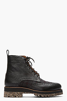 DSQUARED2 Black Pebbled Leather Wool-Trimmed Wingtip Brogue Boots