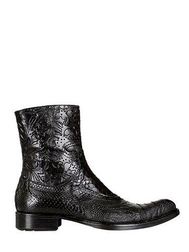 Tejus, Python, Ostrich & Lambskin Boots