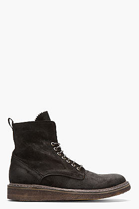 FIORENTINI + BAKER Black Distressed Suede Tommy Tusk Boots