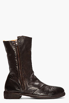 OFFICINE CREATIVE Dark Brown LEather Shearling-Lined Zip Boots