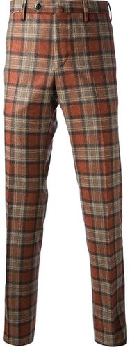 Pt01 check print trouser