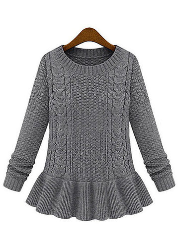 Frill Decoration Round Neck Cable Sweater