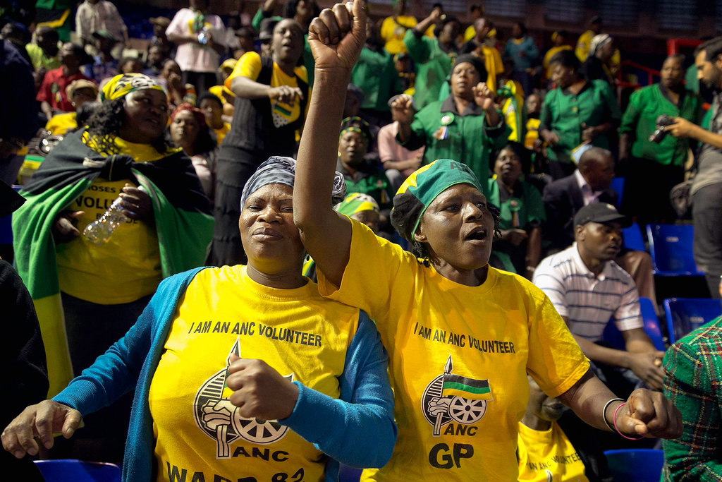 African National Congress members sang and danced during a prayer meeting at the Standard Bank Arena on the national day of prayer.