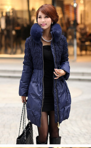 Discount fashion Slim oversized Natural fox fur collar white long duck down jacket in women down parkas on sightface.com
