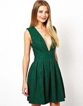 Image 1 of ASOS Deep V Structured Lace Skater Dress