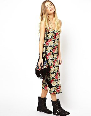 Image 4 of ASOS Reclaimed Vintage Slip Dress in Strappy Back in Big Floral