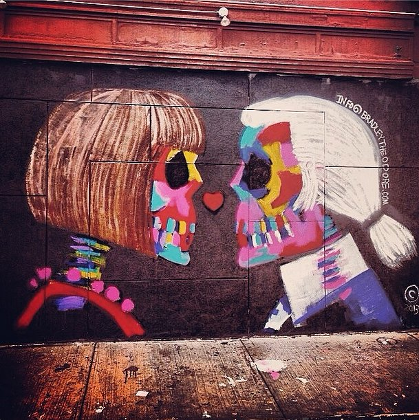 Karl and Anna got a colorful makeover in this NoLIta mural. Source: Instagram user edojao