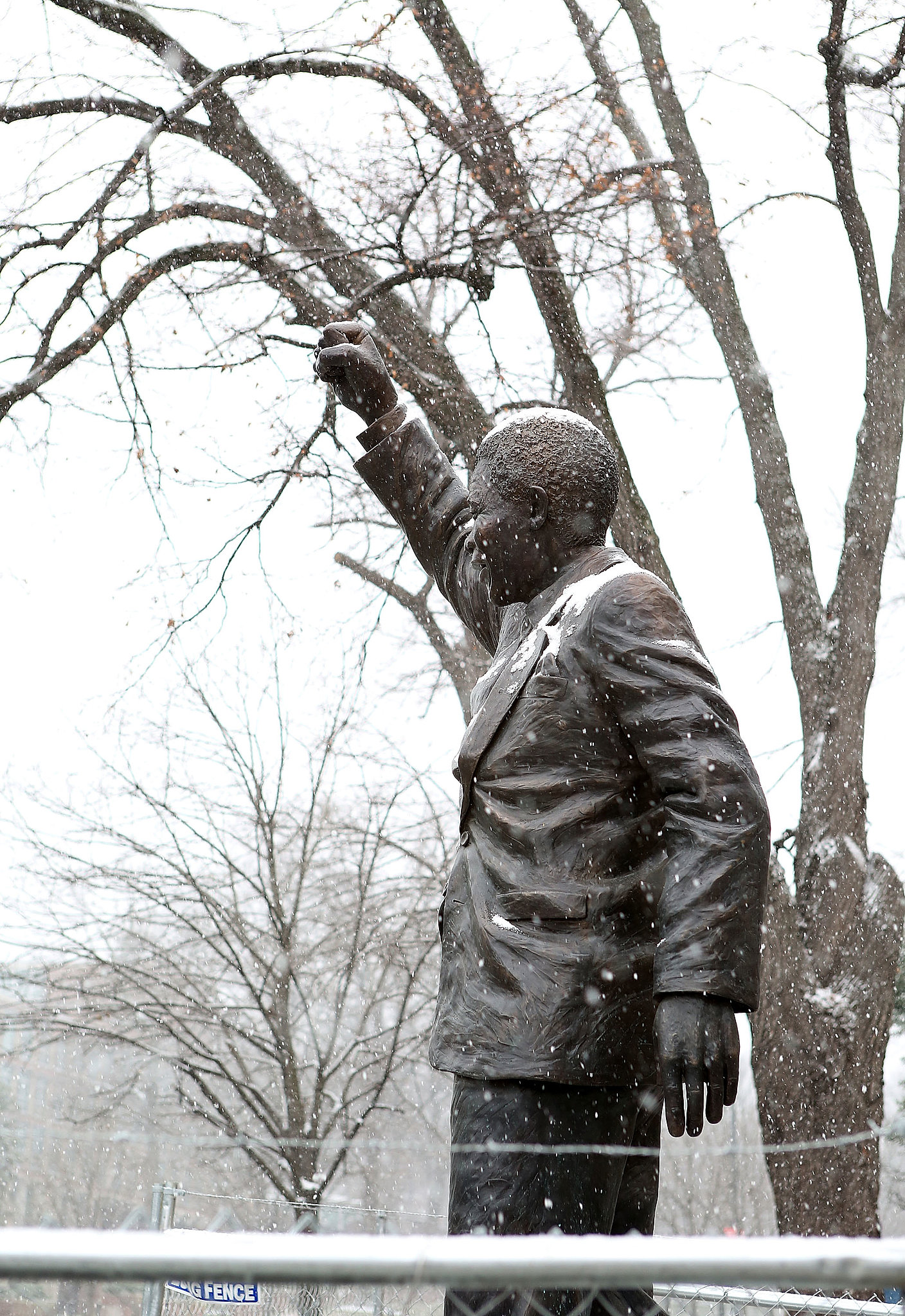 Snow fell on a Nelson Mandela statue outside the South African Embassy in Washington DC.