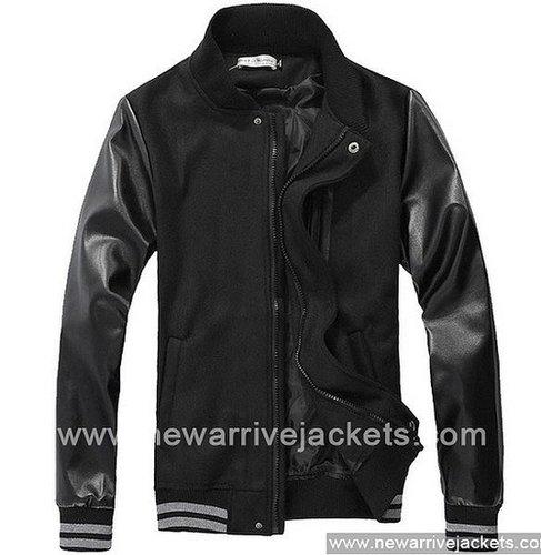 Black Men New Leather Sleeves Baseball Jacket For Sale
