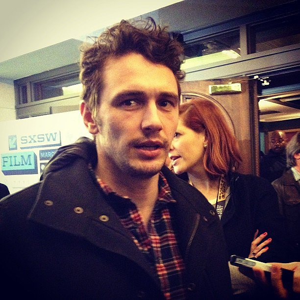 We ran into James Franco at the SXSW showing of Spring Breakers.