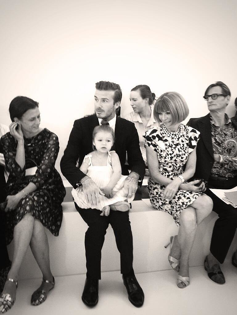 In September, David and Harper were the guests of honor during Victoria Beckham's NYFW show. The pair sat front row, and little Harper even got a smile out of seatmate Anna Wintour! Source: Twitter user victoriabeckham