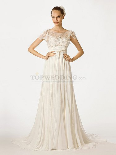 Cap Sleeved A Line Chiffon Bridal Dress with Sheer Lace Top