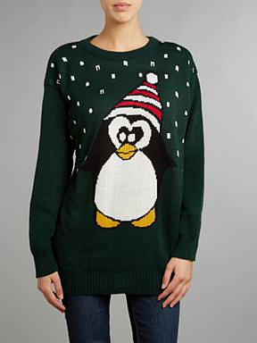 Penguin knitted christmas jumper