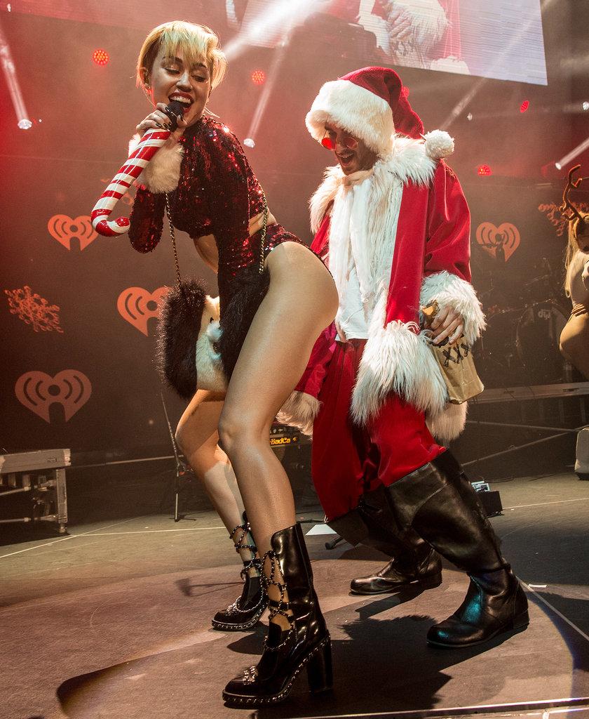 Of course, Miley twerked on Santa.