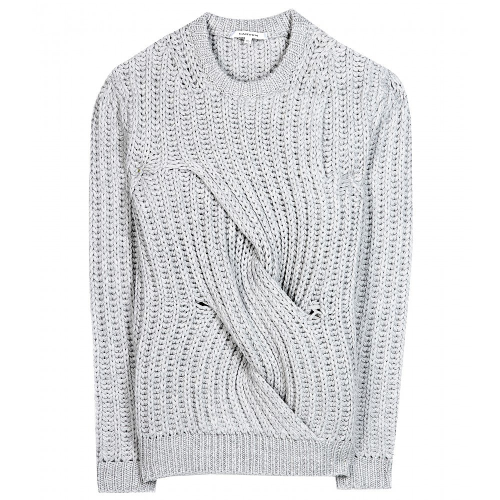 Even when the inevitable boredom strikes after wearing sweaters for two months straight, the unique sculptural detailing on this Carven chunky-knit wool sweater ($494) makes it the piece I'll