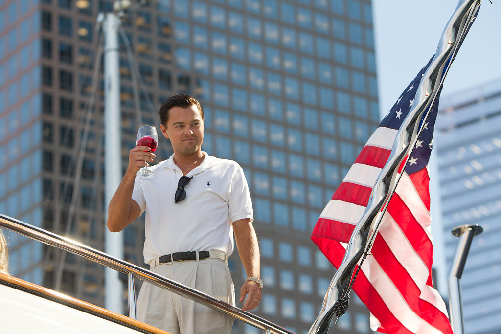 DiCaprio toasts as Jordan.
