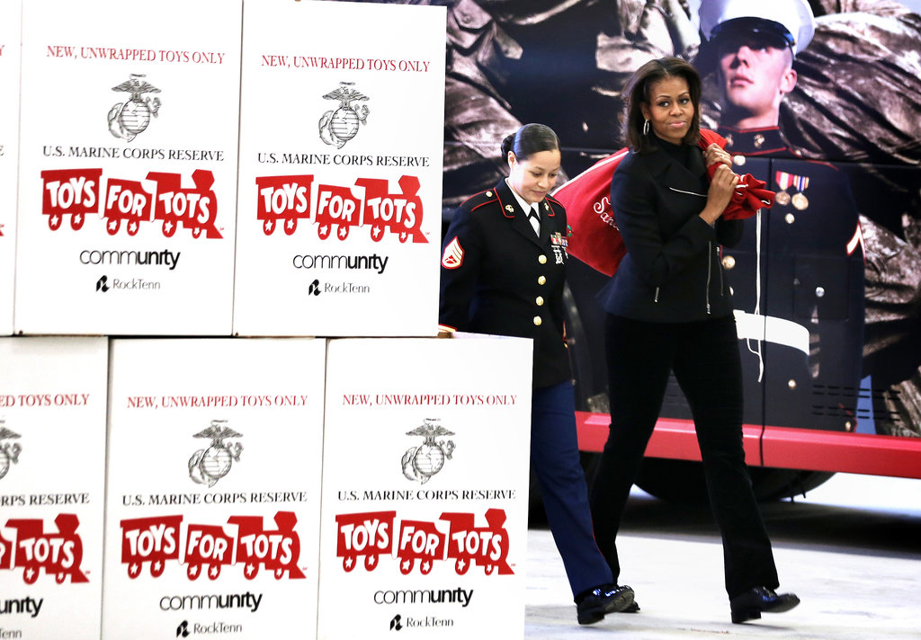 First Lady Michelle Obama had a giant sack of presents to share with the kids.