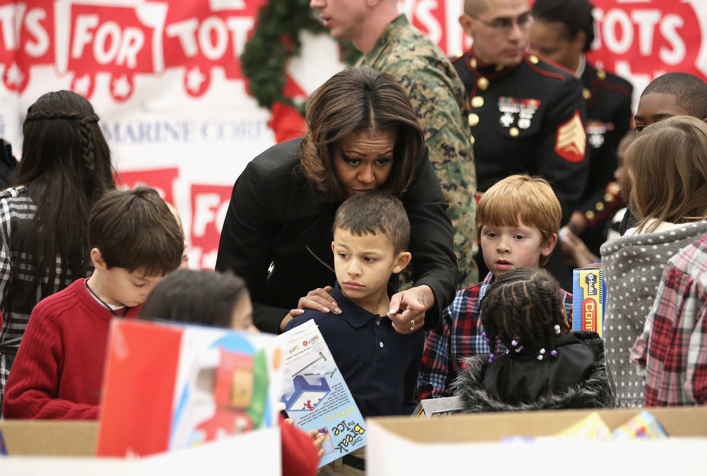 Toys For Tots 2013 : Michelle obama at the us marine corps toys for tots