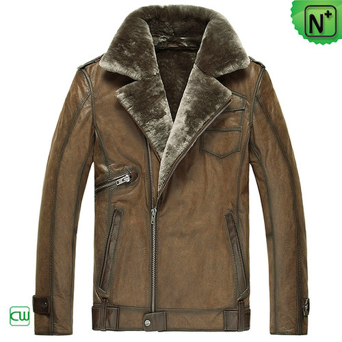 Mens Leather Shearling Jacket CW877049
