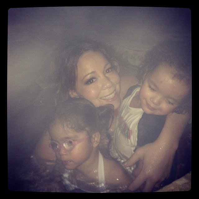 Mariah Carey stayed warm in the hot tub with her twins, Monroe and Moroccan. Source: Instagram user mariahcarey