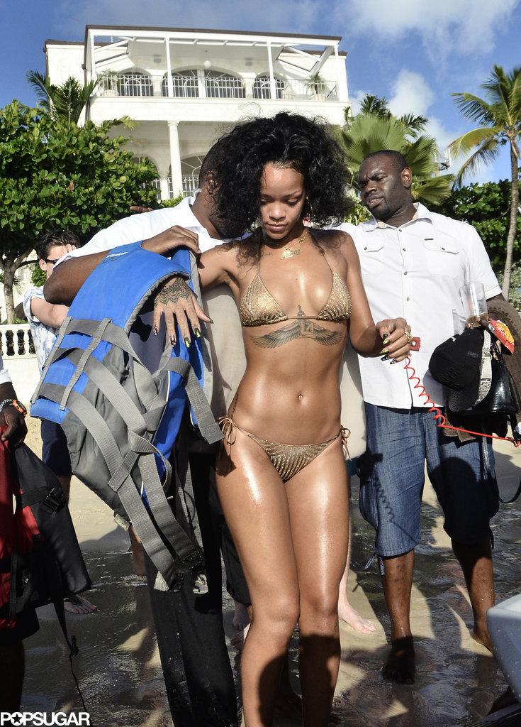 Rihanna prepared to Jet Ski.
