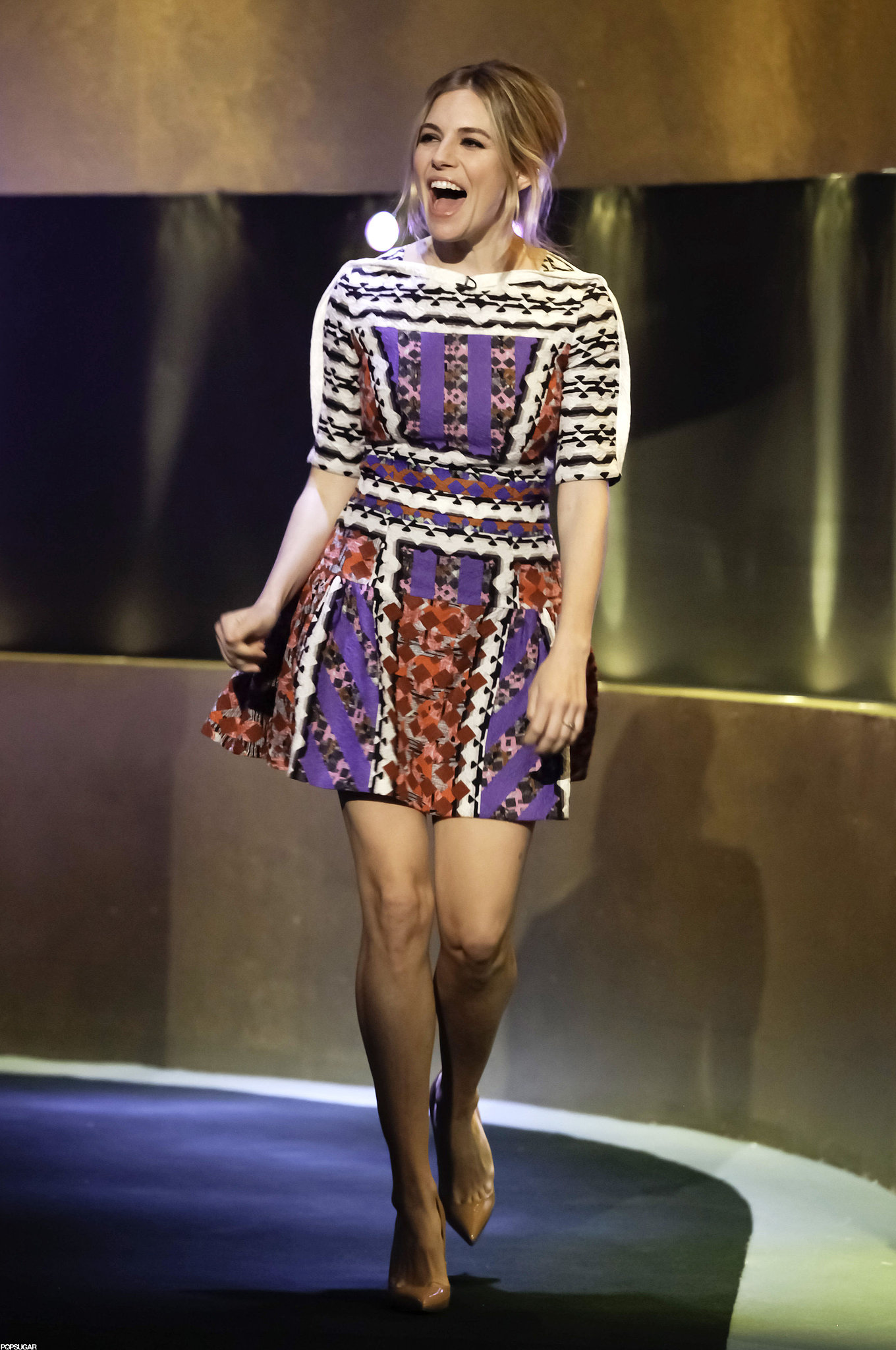 She worked a colorful Peter Pilotto dress for her appearance on The Jonathan Ross Show in December 2012.