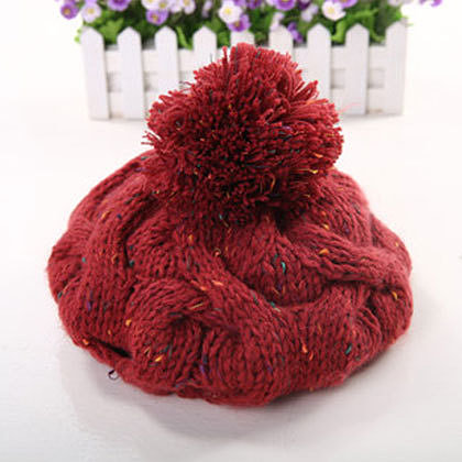 Image of [grzxy61800011]Sweet Girls Mixed Colors Pompom Knit Beanie Warm Winter Hat