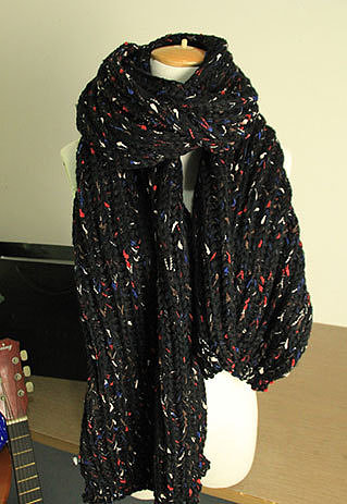 Image of [grzxy6600957]Sweet Contrast Color Chunky Cable Knit Scarf Warm Winter Neckerchief