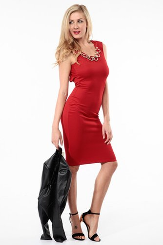 Red Solid Chain Linked Midi Dress @ Cicihot sexy dresses,sexy dress,prom dress,summer dress,spring dress,prom gowns,teens dresse