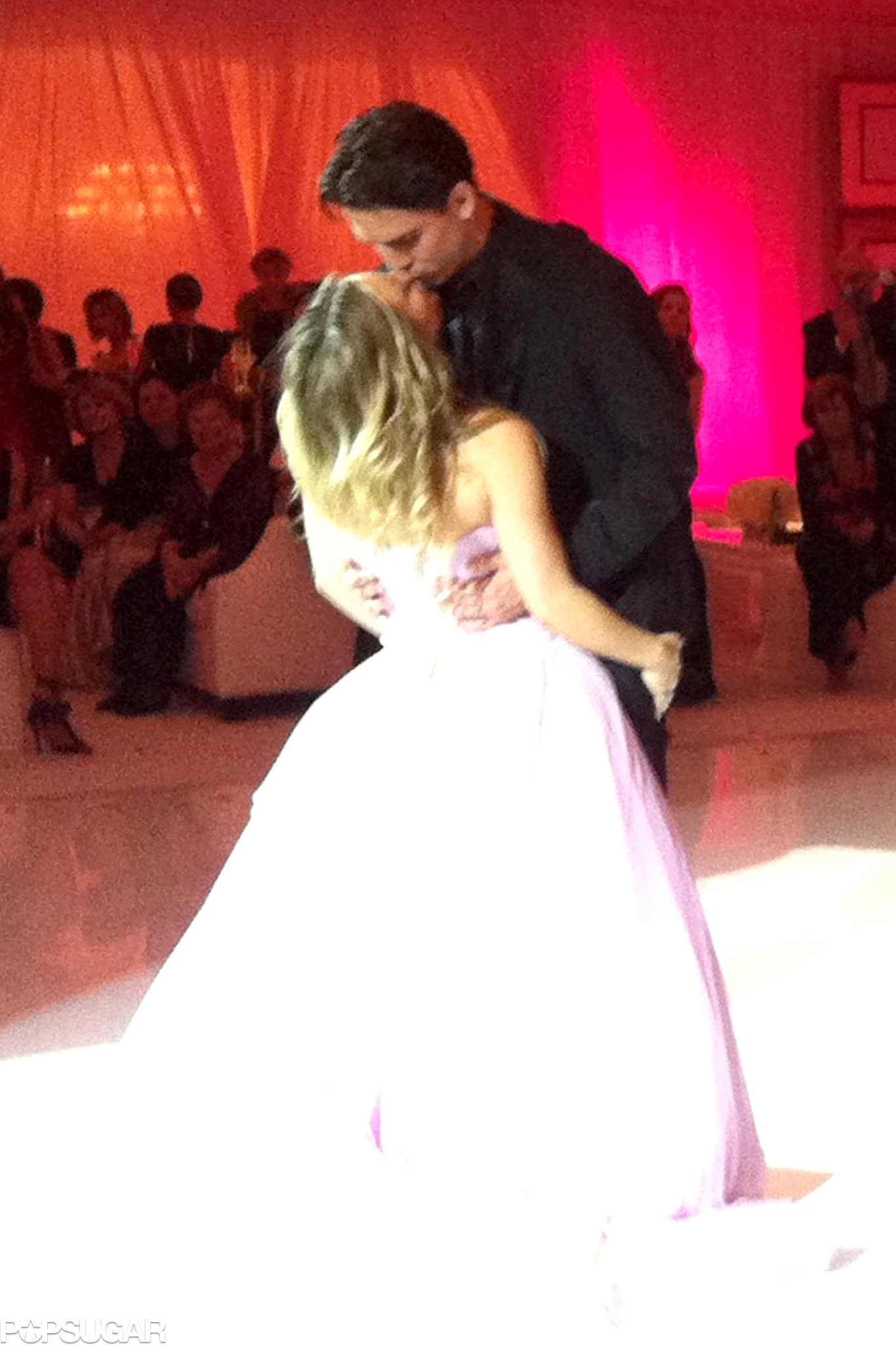 Kaley Cuoco and Ryan Sweeting brought on the PDA during their wedding on Tuesday night.