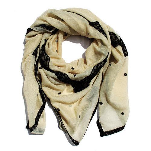 CQ linen cotton romantic lace scarf