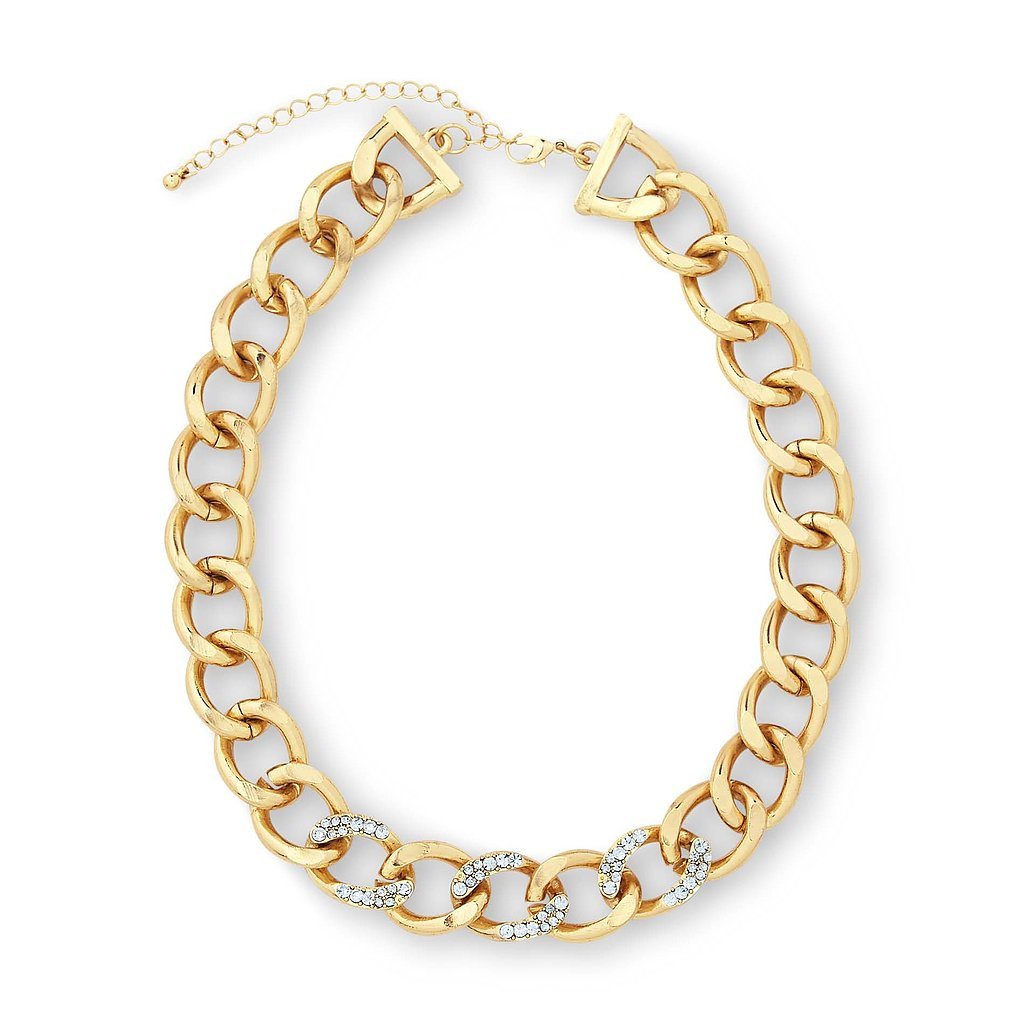 Chunky Chain Necklace With Rhinestones ($15)