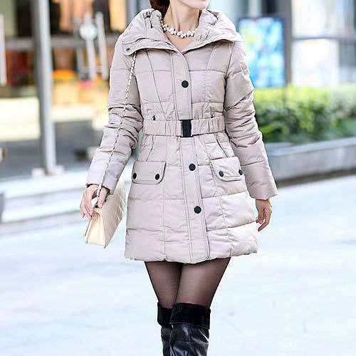 Image of  [grzxy6600974]Quilted Belted Detachable Waistband Thick Down Jacket Slim Hooded Coat