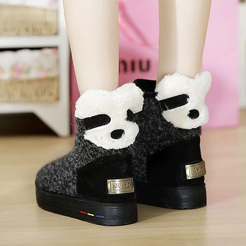Image of [grzxy61900213]Cute Panda Hidden Wedge Shoes Snow Boots Warm Lined Ankles