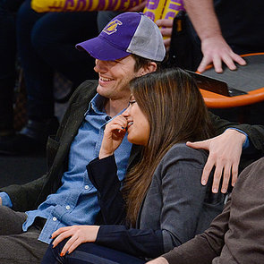 Ashton Kutcher and Mila Kunis Kissing at Lakers Game