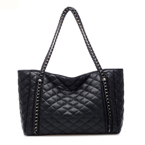 Image of [grxjy520188]Black Diamond Shape Large Chain Vintage Shoulder Bag Casual Totes