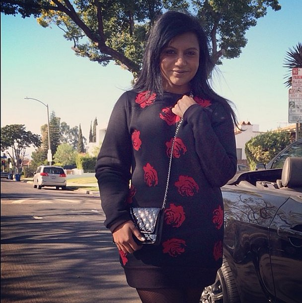 A cozy sweater dress looked positively rosy on Mindy Kaling. Source: Instagram user mindykaling