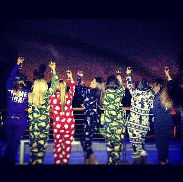 Selena Gomez's party outfit of choice: PJs. Source: Instagram user selenagomez