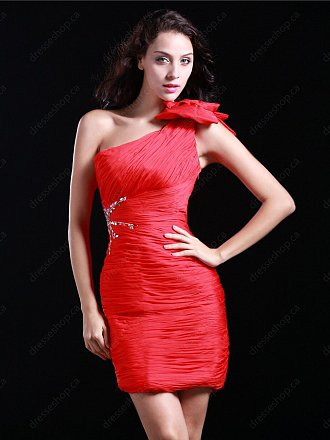 Sheath/Column One Shoulder Chiffon Short/Mini Red Ruffles Homecoming Dress