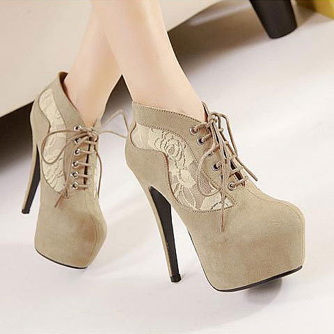 Image of [grxjy5190319]Splicing Mesh Lace Platform Super High Stiletto Shoes Ankle Bootie