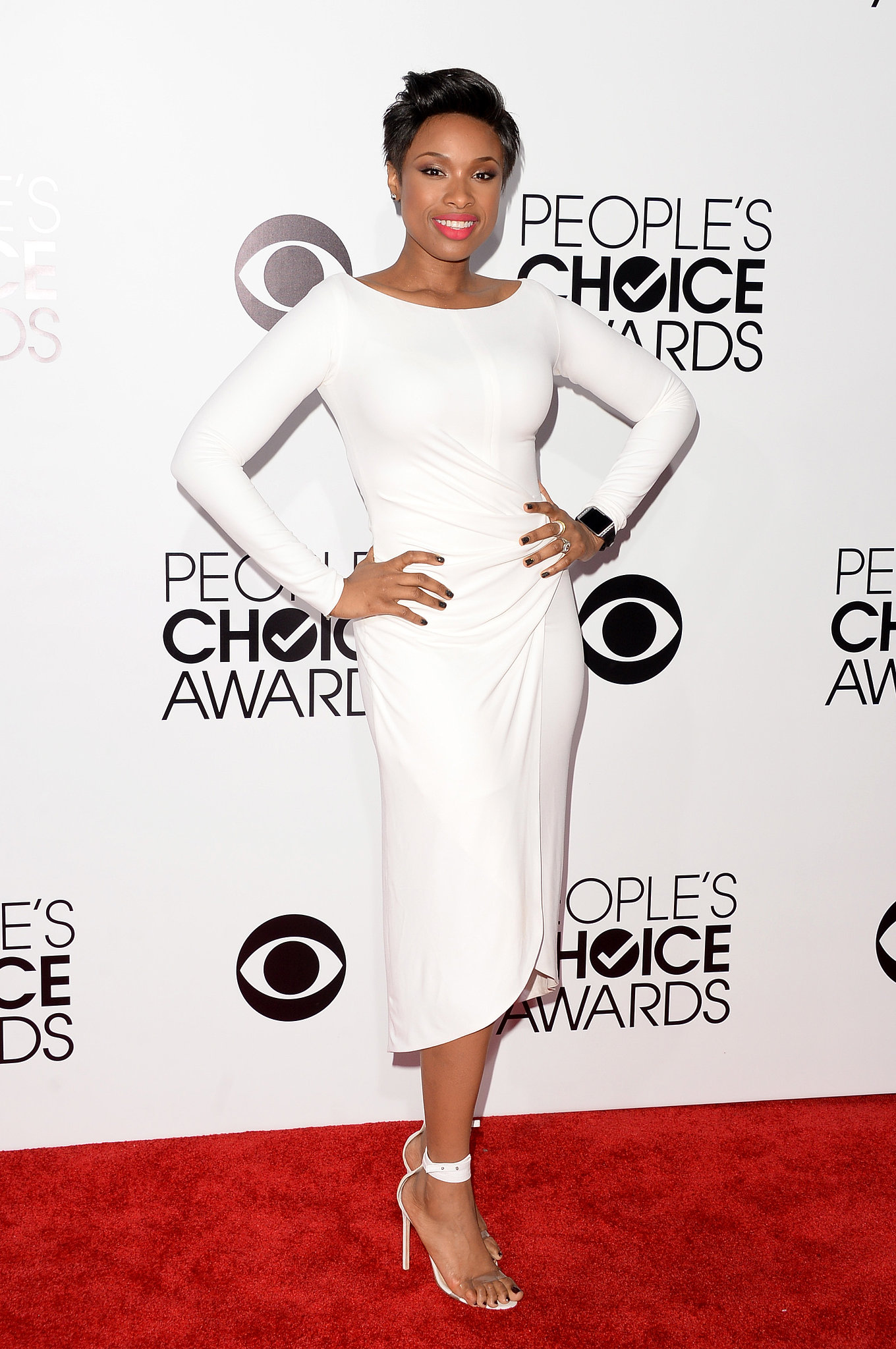 Jennifer Hudson dropped jaws on the red carpet in her sleek white dress.