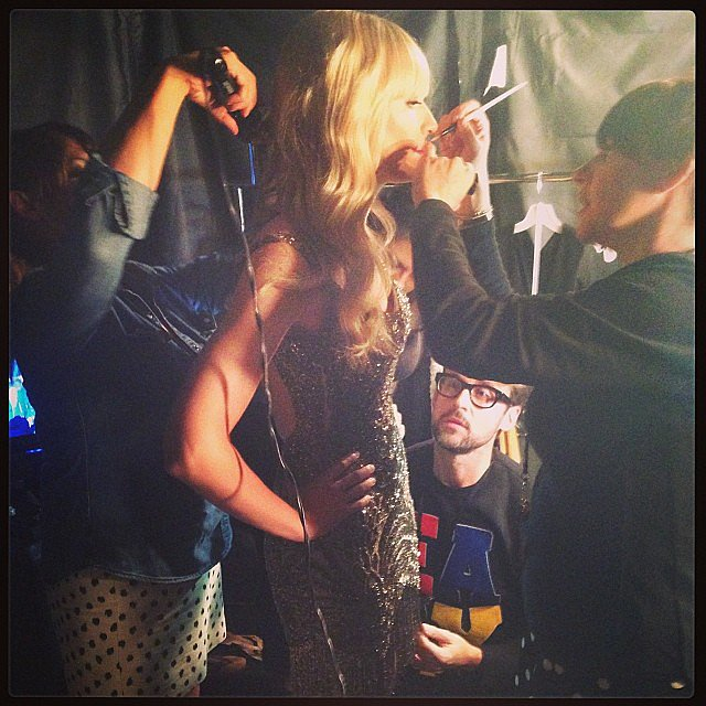 Brad Goreski shared a picture of Beth Behrs getting ready backstage. Source: Instagram user mrbradgoreski